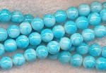 Glass Beads, Round Mottled TURQUOISE White Core 8mm