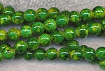 Glass Beads, Round Mottled GREEN 8mm