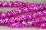 Glass Beads, Round Mottled PINK-FUCHSIA 8mm
