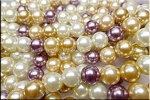 ZSOLDOUT / Glass Pearls, 12mm CREAM SABLE CHAMPAGNE PLUM Designer Mix