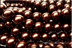 12mm Round Glass Pearls Dark GOLDEN BROWN