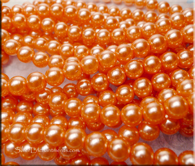 10mm Round Glass Pearls CORAL PEACH