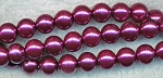 6mm Round Glass Pearls MAUVE PURPLE