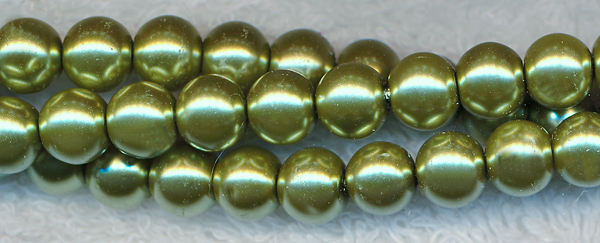 Glass Pearls, 4mm GOLDEN OLIVE MINT GREEN
