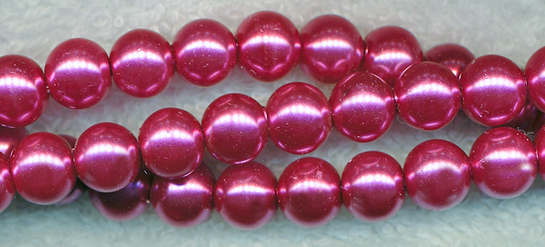 Glass Pearls, 8mm FUCHSIA MAUVE