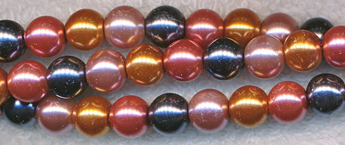 Glass Pearls, 8mm COPPER HEMATITE ROSE Designer Mix