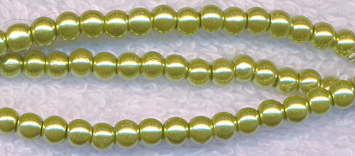 Glass Pearls, 4mm GOLDEN CHARTREUSE