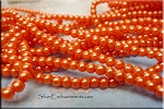 4mm Round Glass Pearls HYACINTH Orange