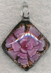 Diamond Pink Flower Pendant, Glass Pendant