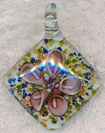 Glass Flower Pendant, Mauve Pink Flower Jewelry