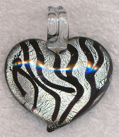 Zebra Heart Pendant, Silver and Black Lampworked Glass