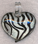 Heart Zebra Print Foil Glass Focal Pendant, Silver and Black