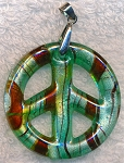 Peace Sign Pendant Necklace, Bailed Glass Teal Green