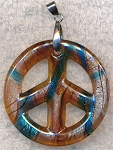 Peace Sign Necklace Pendant, Bailed Glass Blue Topaz
