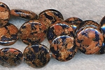 Goldstone Beads, Black Flecked Coin 14mm