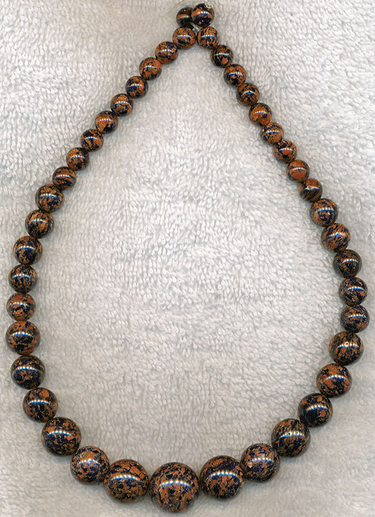 Goldstone Beads, Graduated Round Black Flecked