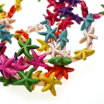 Magnesite Beads, Starfish Multicolored 15mm