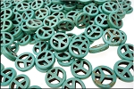 Turquoise Peace Sign Beads, Turquoise Magnesite 15mm