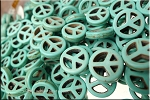 15mm Turquoise Peace Sign Beads