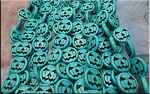 Halloween Beads, Turquoise Pumpkin, 15mm