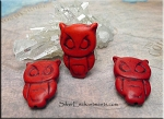 Stone Owl Beads, Red