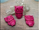 Stone Owl Beads, Pink
