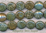 18mm Alligator Jasper Coin Beads