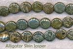 Alligator Jasper Beads, Coin 14mm