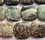 Mica Jasper Beads, Square 25mm Pillow