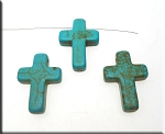 ZSOLDOUT / Turquoise Bead Pendants, Cross 25x18mm
