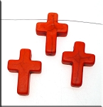 25mm Orange Magnesite Cross Beads