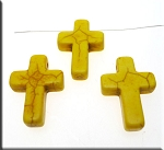 25mm Yellow Magnesite Cross Beads