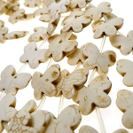 White Stone Butterfly Beads, 18x21mm