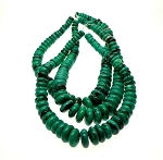 Turquoise Beads, Green Rondelle Graduated