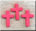 Cross Beads, Pink 22x30mm
