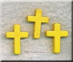Cross Beads, Yellow 30x22mm