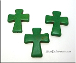 Cross Bead Pendants, Green Turquoise 40x30mm