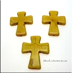 Cross Bead Pendants, Yellow 40x30mm