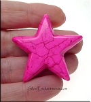 Magnesite Bead Pendants, Star Hot Pink 38mm