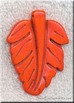 Orange Magnesite Carved Large Leaf Pendants