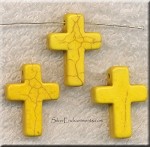24mm Yellow Magnesite Cross Beads