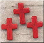 ZSOLDOUT / Cross Bead Pendants, Red 24x18mm