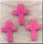 24mm Pink Magnesite Cross Beads