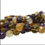 ZSOLDOUT / Mixed Gemstone Beads, 12mm Faceted Round Quartz