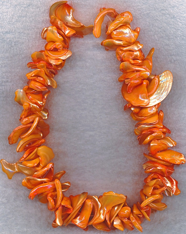 Mother of Pearl Beads, Freeform Peach