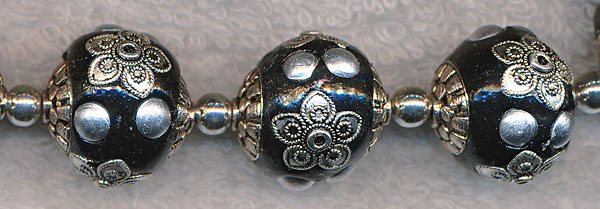 Kashmiri Tibetan Beads Black Silver 18mm
