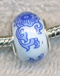 SOLDOUT - Porcelain European Style Large Hole Bead, China Pattern Blue & White