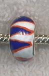 Polymer Clay Large Hole Beads, RED WHITE and BLUE Big Hole Beads (10)