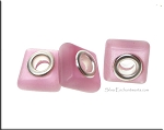 Cat's Eye Beads, Pink Big Hole Square (10)