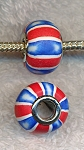 Polymer Clay Large Hole Beads, Red White and Blue